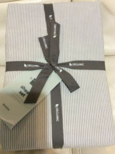 West Elm Washed Organic Cotton Double Stripe Queen Sheet Set Slate Gray NWT!
