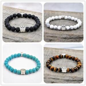 Silver-Cat-Dog-Pet-Paw-Footprint-Charm-Beaded-Bracelet-Charm-Agate-Jade-Beads-IK