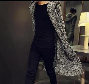 Mens Long Hooded Cardigan Sweater Mohair Sweater Coat Loose Casual
