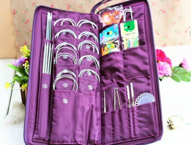 104Pcs Stainless Steel Knitting Needles Straight+Circular Needles+Crochet Hook