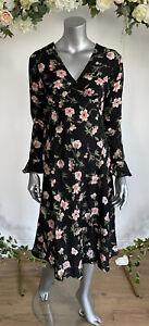 Influence Tea Dress Size 8 12 18 & 22 Black Floral Midi V Neck Dress New GZ74