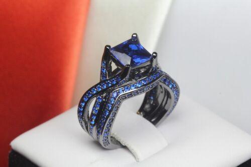 Princess Cut Blue Sapphire Black 925 Silver Bridal Engagement /& Wedding Ring Set