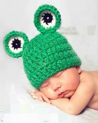 Newborn Girl Boy Baby Knit Clothes Photo Crochet Costume Photography Frog Hat