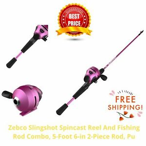 Zebco Slingshot Spincast Reel And Fishing Rod Combo, 5-Foot 6-in 2-Piece Rod, Pu