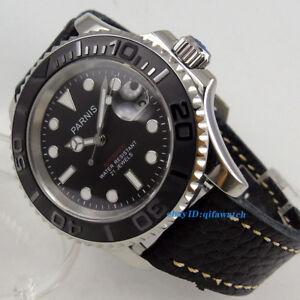 41mm-PARNIS-Saphirglas-Schwarz-Armband-Nachtleuchtende-Zifferblatt-Automatik-Herren-Armbanduhr