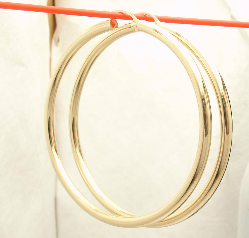 4mm X 65mm 2 1 2  Large Plain Shiny Round Hoop Earrings REAL 14K Yellow gold