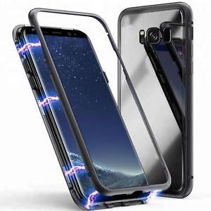 Magnet-Bumper-Case-fuer-Galaxy-S7-edge-S8-S9-Plus-Handy-Huelle-Glas-Metall-Huelle