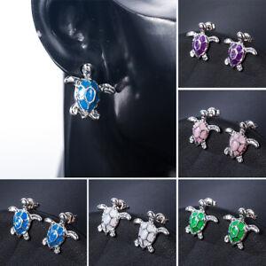 Women-Fashion-925-Silver-Beach-Sea-Turtle-Blue-Fire-Opal-Charm-Stud-Earrings-NEW