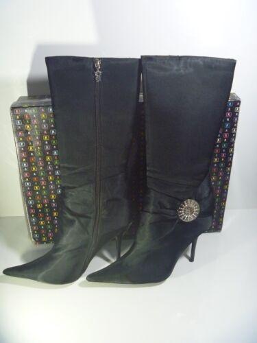 Uk Foxi Boots Heel Playboy Black Stiletto 89 High Genuino Satin Rrp 7 C0pxOFqx
