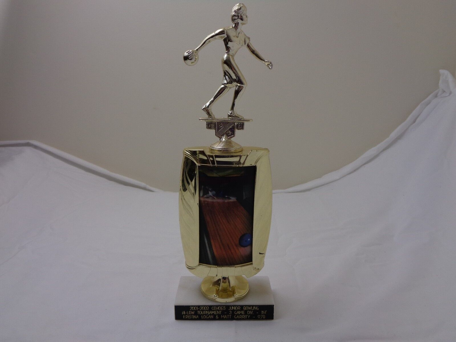 Vintage Bowling Trophy for Women with Marble Base
