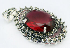 Women-Jewelry-Marcasite-Faceted-Red-Zircon-amp-925-Sterling-Silver-Pendant