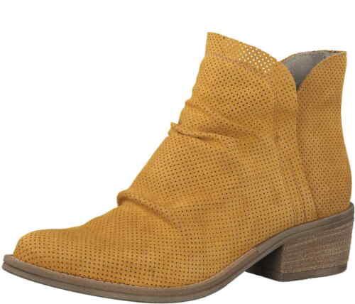 Tamaris Stiefelette 25303 627 Saffron Gelb Nubuk Leder Reißverschluß Stiefel