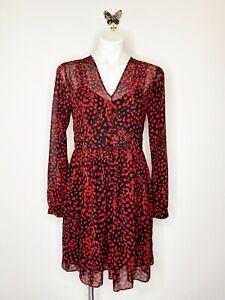 Michael Michael Kors Women's Red Black V Neck Sheer Polka Dot Dress Size 8
