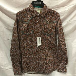 PANHANDLE-Women-039-s-Brown-Aztec-Multi-Color-Long-Sleeve-Western-Shirt-R4S7594-NWT