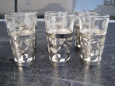 Gewissenhaft 6 Schnapsgläschen Silbermontierung 925er