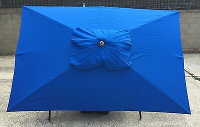 3 x 2m Wood Garden Parasol Sun Shade Patio Outdoor Umbrella Canopy Blue
