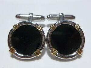 Details About Designer Modern Sterling Silver Onyx 14k Gold Uni Round Cufflinks Pair