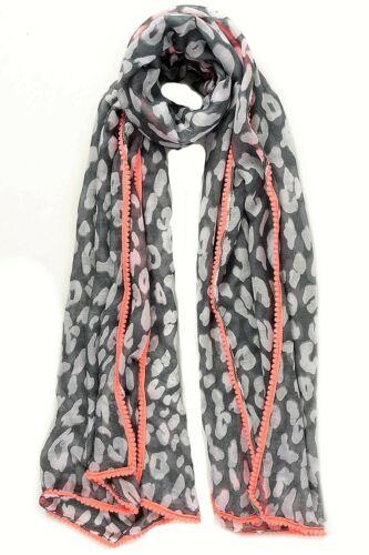 Grey Leopard Print Scarf Scarves Wrap Shawl Pink Neon Pom Pom Border Edge Summer