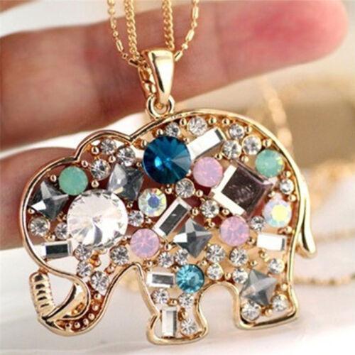 Fashion Crystal Lucky Lovely Elephant Necklace Pednat Necklase Long Chain CN