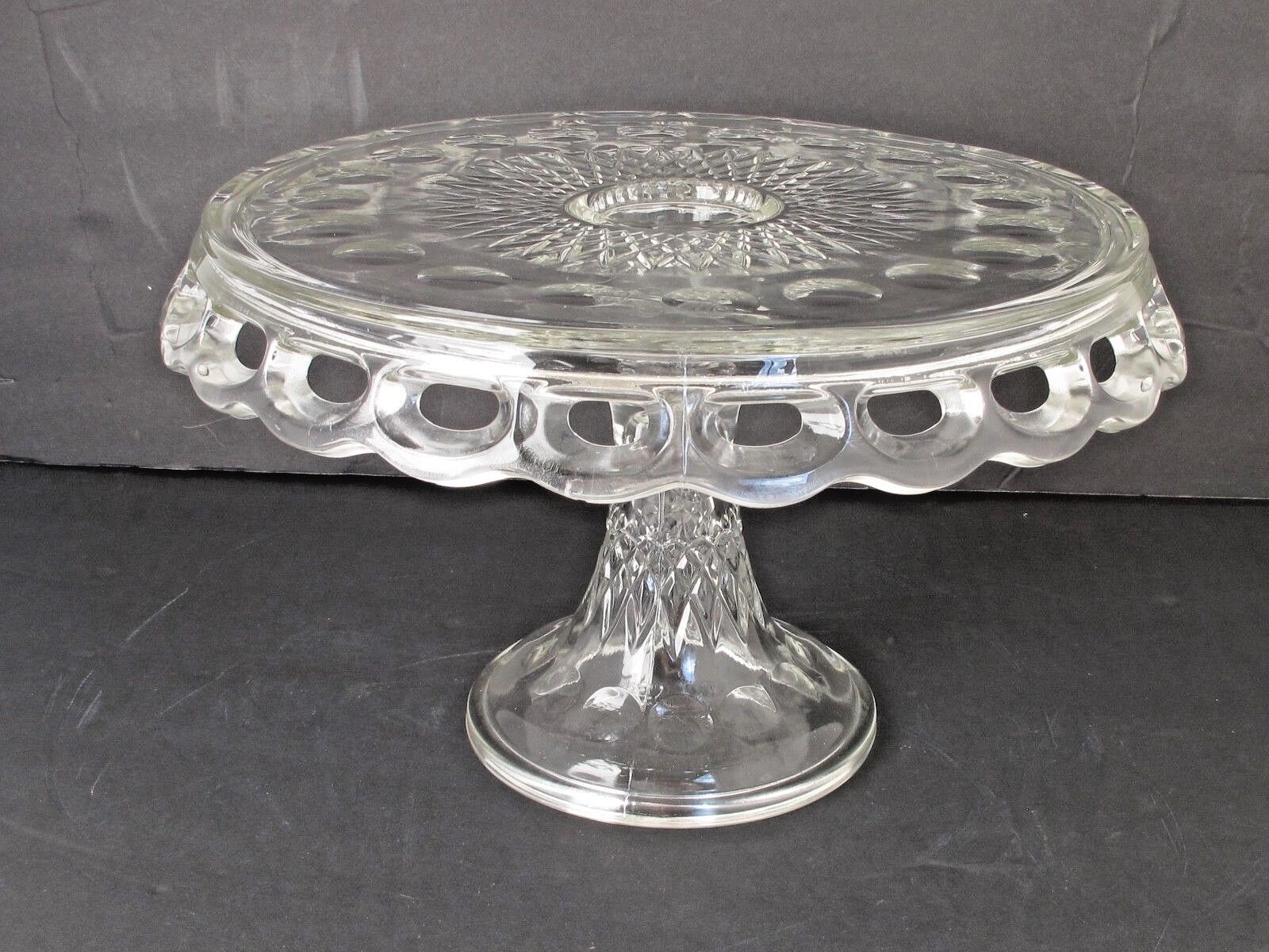Vintage McKee Bros.Clear Glass Round Plymouth Thumbprint Cake Stand 10 1 2