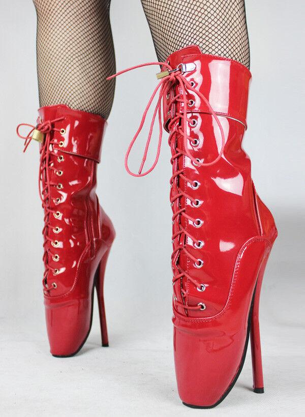 Alto alla caviglia in PVC Rosso bloccaggio Balletto Stivali Con CINGHIE, Alta Guarisce, sexy boot