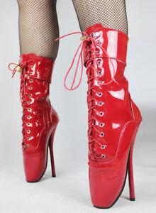 Alto alla caviglia in PVC Rosso bloccaggio Balletto Stivali Con CINGHIE Alta Guarisce sexy boot
