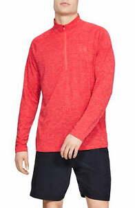 Under Armour Mens Activewear Red Size 2XL Pullover Quarter-Zip HeatGear $40 #031
