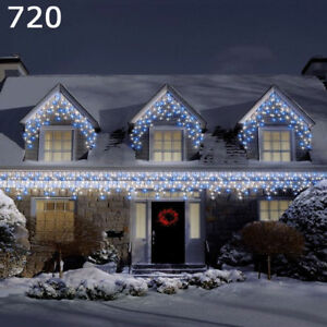 Super Bright 720 Led White Amp Blue Christmas Snowing Icicle