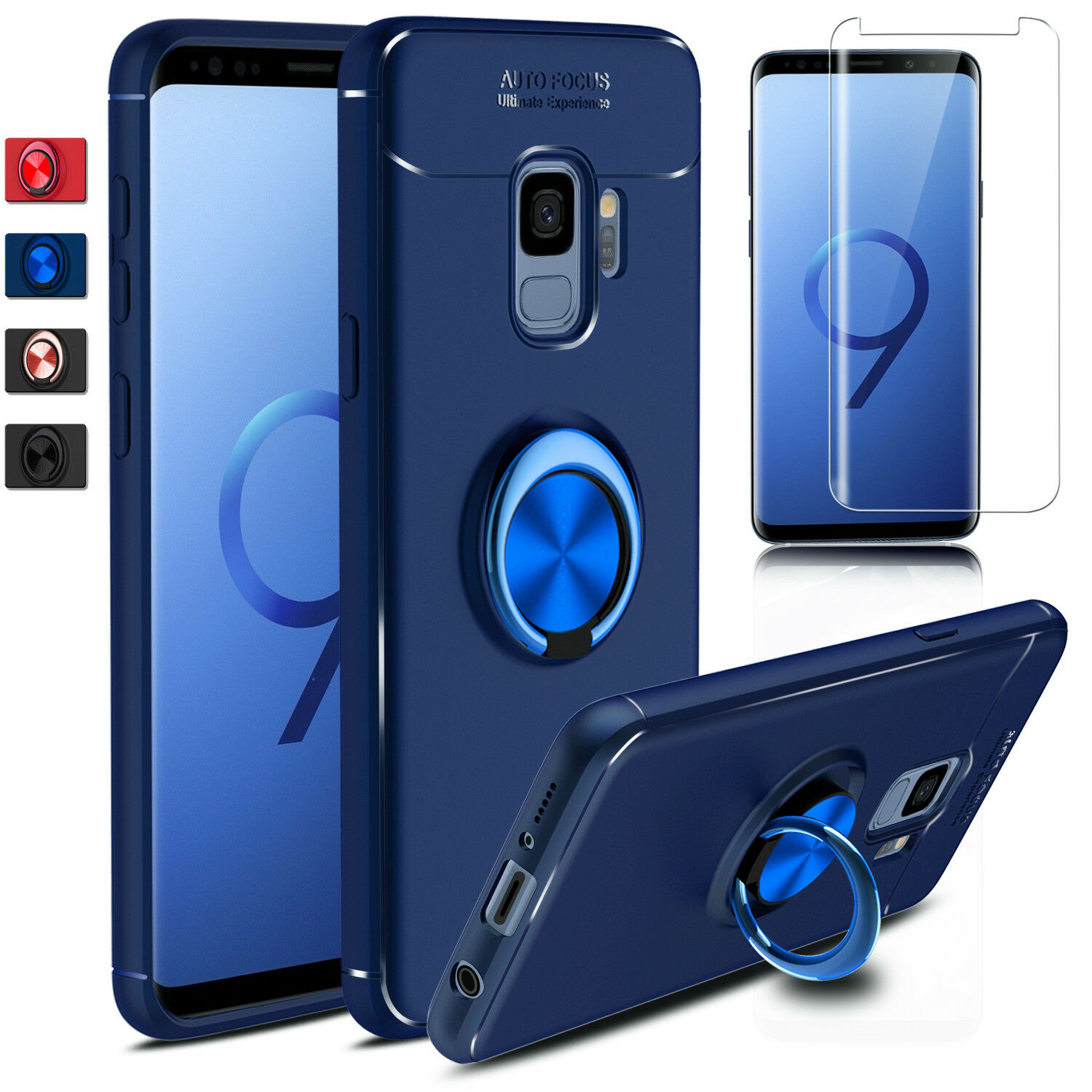 For Samsung Galaxy S10 Plus/5G/S9 Plus Note 9 Case Ring Cover+Screen  Protector
