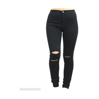 Liberal Women Ladies Stretch Ripped Knee Cut Slim Fit Skinny Denim Jeans Size Uk
