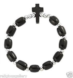 Black-Wood-Beads-Catholic-Religious-Stretch-Bracelet-with-Cross-Made-in-Brazil
