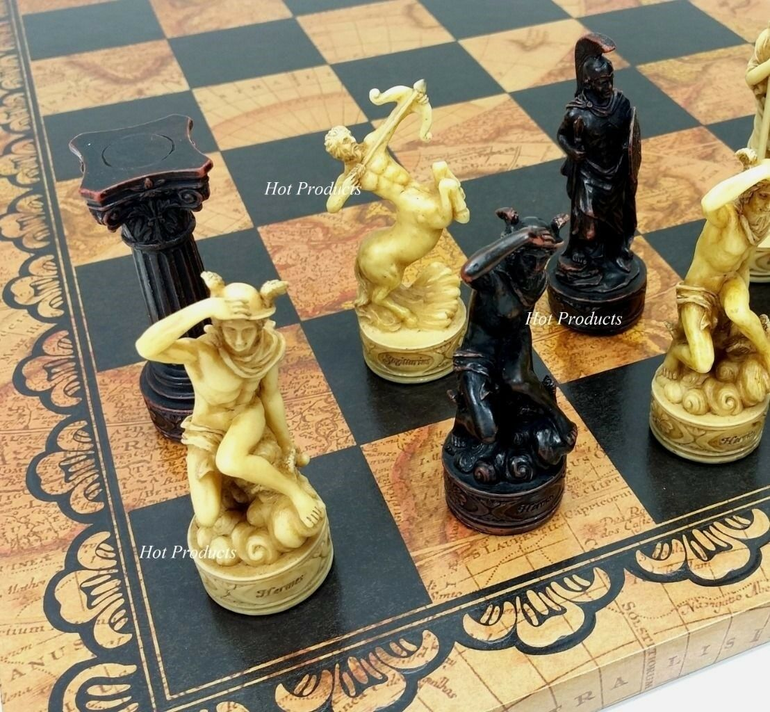 GREEK ROMAN MYTHOLOGY GODS CHESS SET W  LARGE 18  LEATHER WORLD MAP BOARD