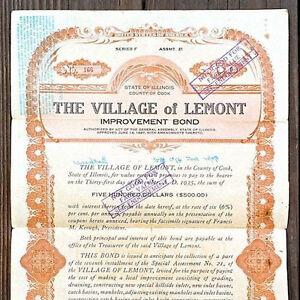 2-Vintage-Original-LEMONT-VILLAGE-ILLINOIS-Bond-1920s-Used-Old-Bank-Note