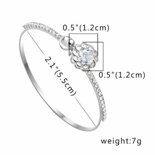 Fashion Silver Crystal Zircon Crown Flower Bracelets Women Bangle Jewelry Gift