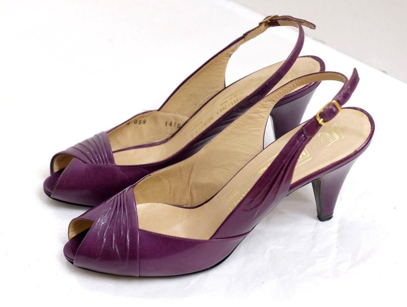 VGUC Bruno Magli Women's Size 6B Stylish Purple Leather Open Toe Slingback Pumps