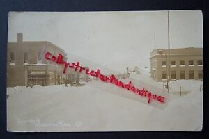 JANUARY 14, 1918 Whitehall, Michigan RPPC postcard, snow, winter, Pitkin, bank