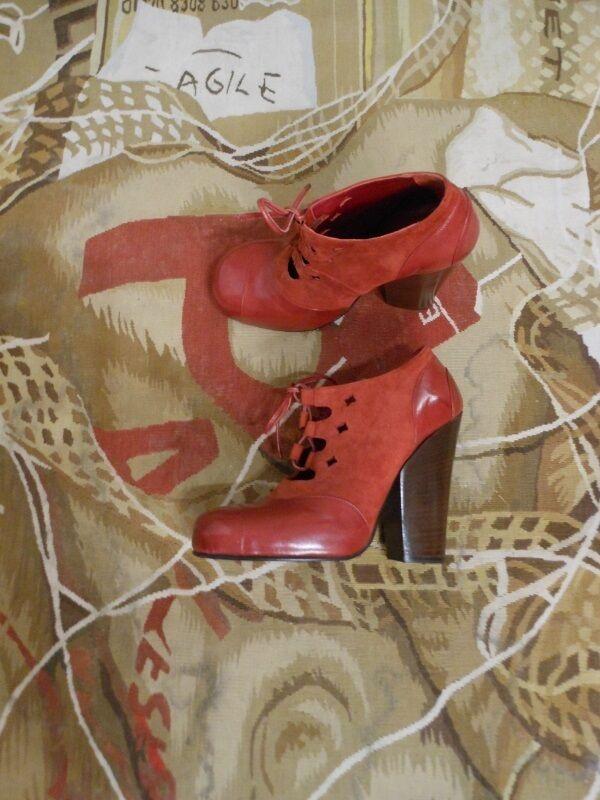 ny Vivienne Westträ Vintage röd röd röd läder mocka Guille skor UK  hälsosam