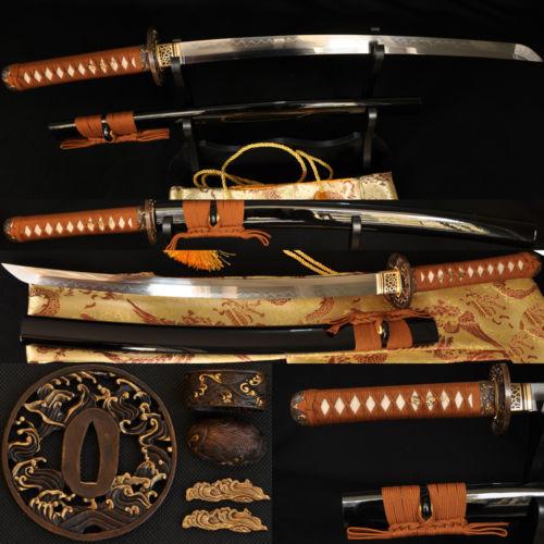 1095 Steel Clay Tempered Full Tang Blade JAPANESE Samurai Sword Wakizashi Sharp