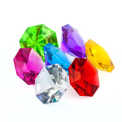 Assorted Pirate Gem Acrylic Flat Diamonds Various Color Floral Arranging Charms