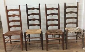 Strange Details About Lot 4 Antique Shaker Amish Ladder Back Ladderback Dining Chairs Rush Woven Seat Download Free Architecture Designs Grimeyleaguecom