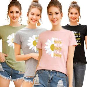 Womens-Summer-Short-Sleeve-T-Shirt-Blouse-Ladies-Print-Basic-Tee-Tops