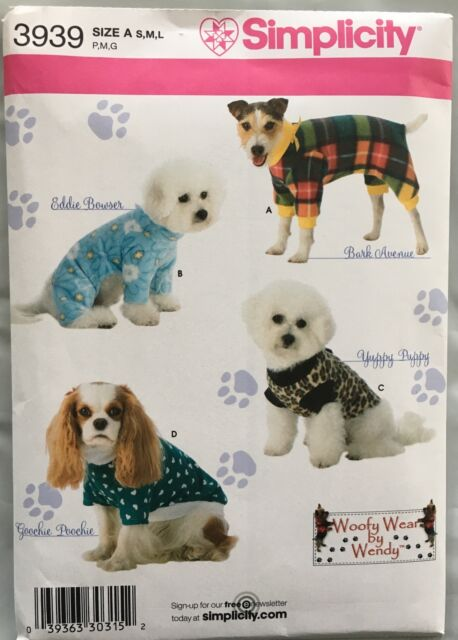 SIMPLICITY CRAFT PATTERN 3939 JACKETS DOG CLOTHES SIZES S M L UNCUT ...