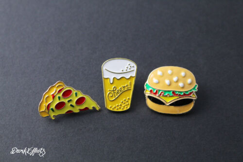 BEER PIZZA /& BURGER DINER ENAMEL PIN BADGES DRINKING FOOD PARTY METAL