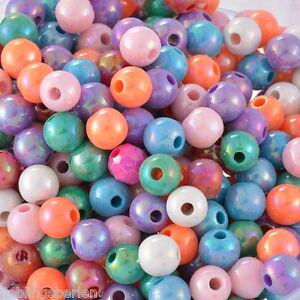 L-P-Grossverkauf-Mix-Mehrfarbig-Kugeln-Rund-Acryl-Spacer-Perlen-Beads-8mm