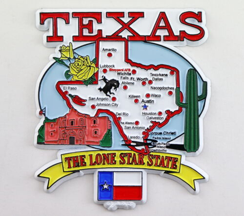 TEXAS STATE ELEMENTS MAP FRIDGE COLLECTIBLE SOUVENIR MAGNET