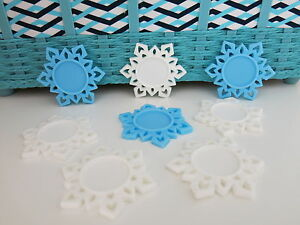 Frozen White Blue Snowflakes Cameo Holders Planar Resin Epoxy Dome Base
