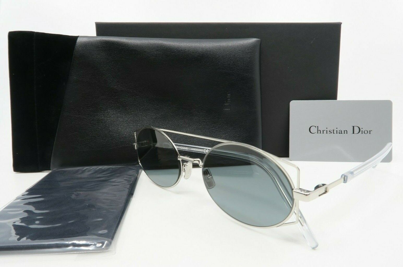 Dior Architectural 0101I 53mm New Silver Oval Sunglasses Made in Italy with box