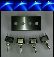 Toggle Switch Panel Blue LED Stainless Steel 4 hole Rocker 12V Bracket Amp Jeep
