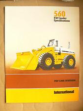 Prospectus Tracteur PAYLOADER 560  INTERNATIONAL IH Mac Cormick TP bulldozer