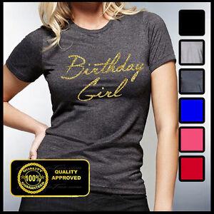 Image Is Loading Birthday Girl Shirt Gold Glitter Tshirt